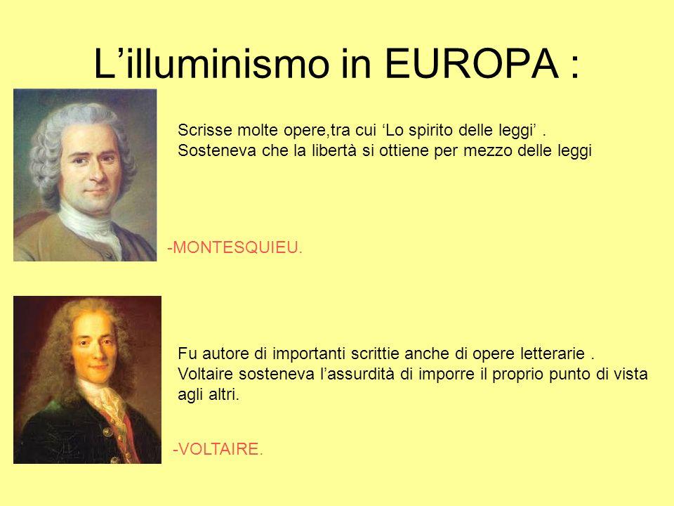 L'illuminismo in EUROPA :
