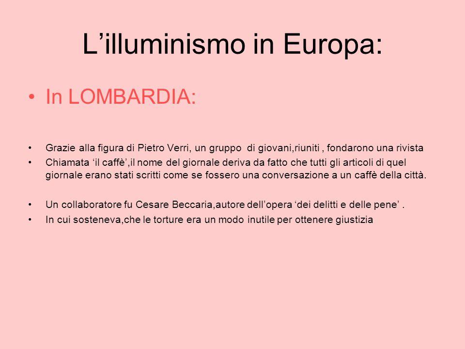L'illuminismo in Europa: