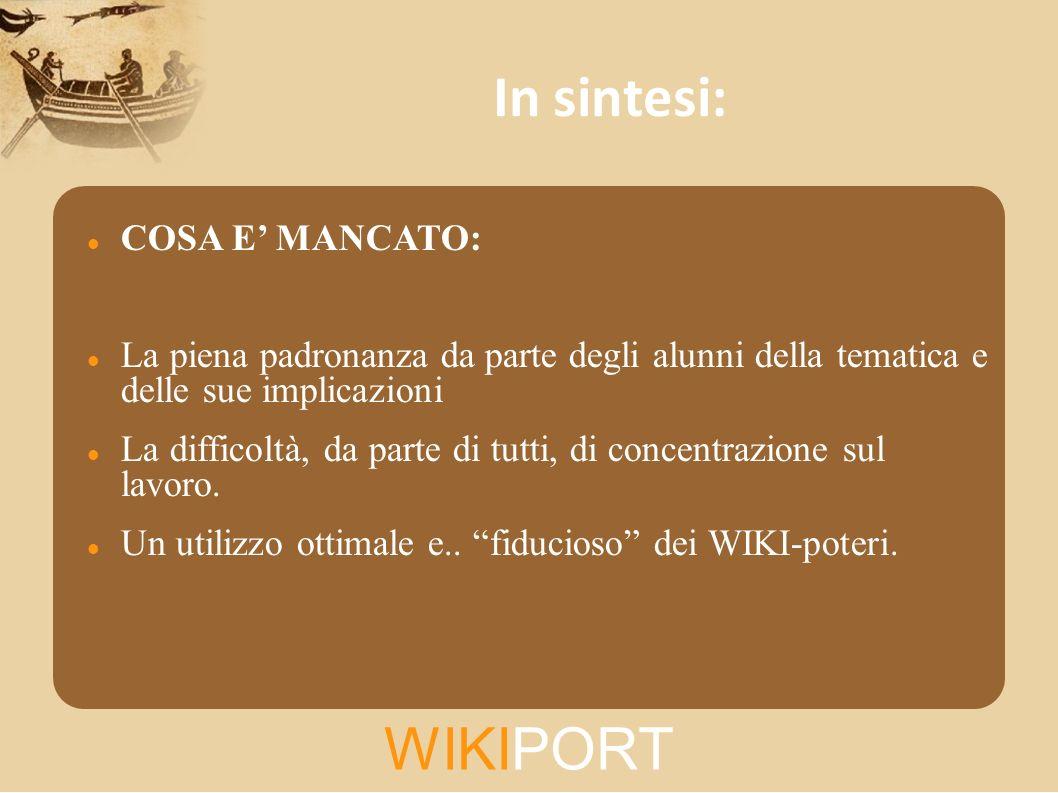 In sintesi: WIKIPORT COSA E' MANCATO: