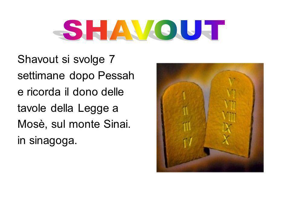SHAVOUT Shavout si svolge 7 settimane dopo Pessah