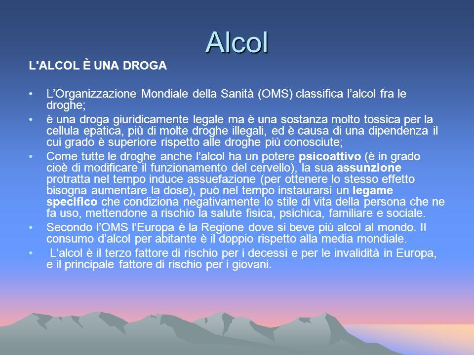 Alcol L ALCOL È UNA DROGA