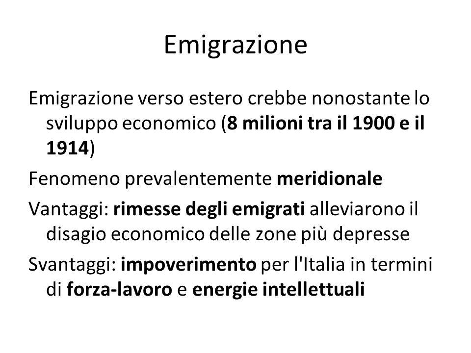 Emigrazione Emigrazione verso estero crebbe nonostante lo sviluppo economico (8 milioni tra il 1900 e il 1914)