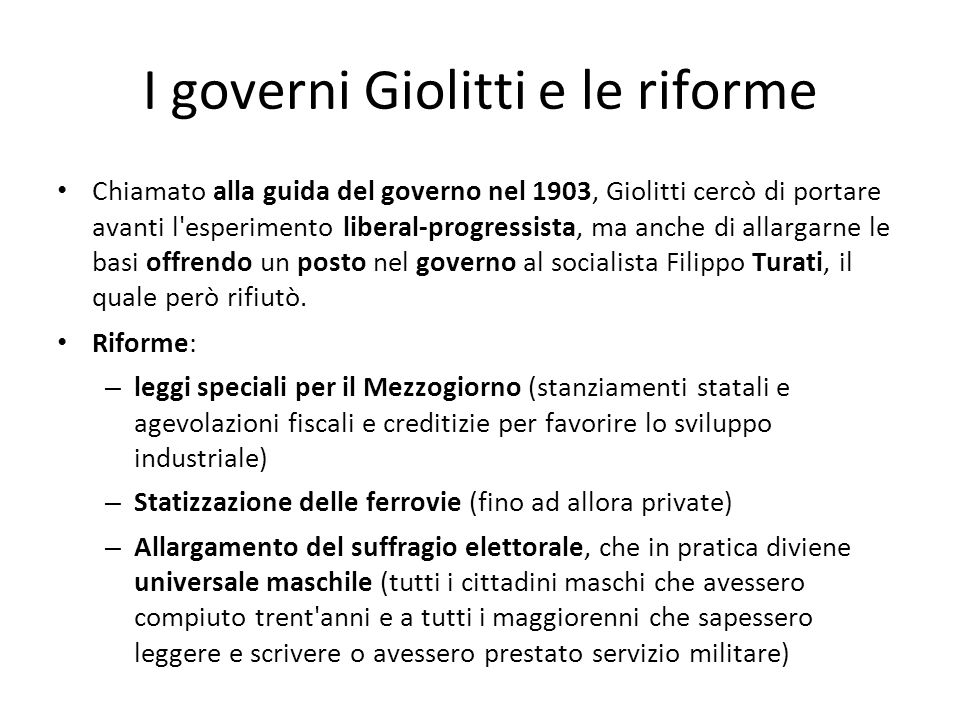 I governi Giolitti e le riforme