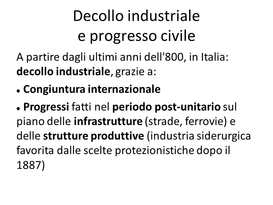 Decollo industriale e progresso civile