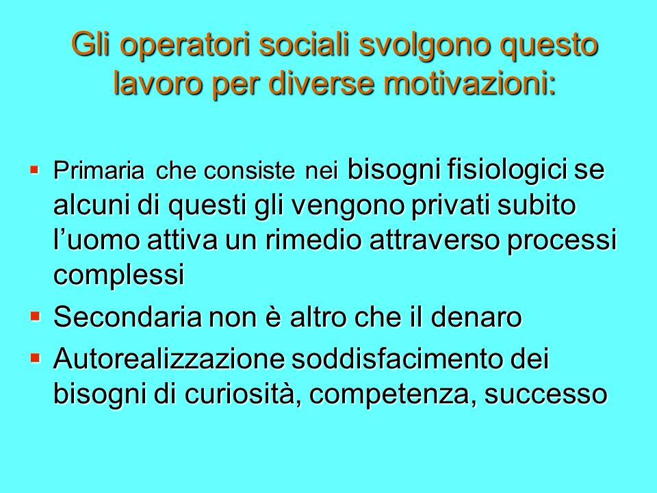 Gli operatori sociali svolgono questo lavoro per diverse motivazioni: