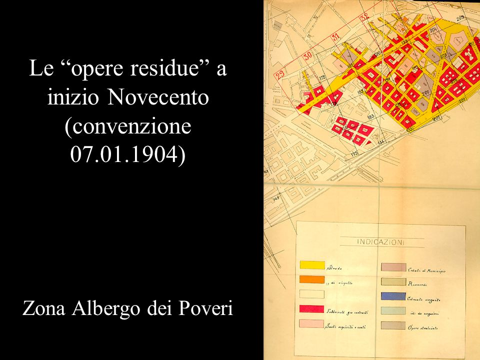 Le opere residue a inizio Novecento (convenzione 07.01.1904)