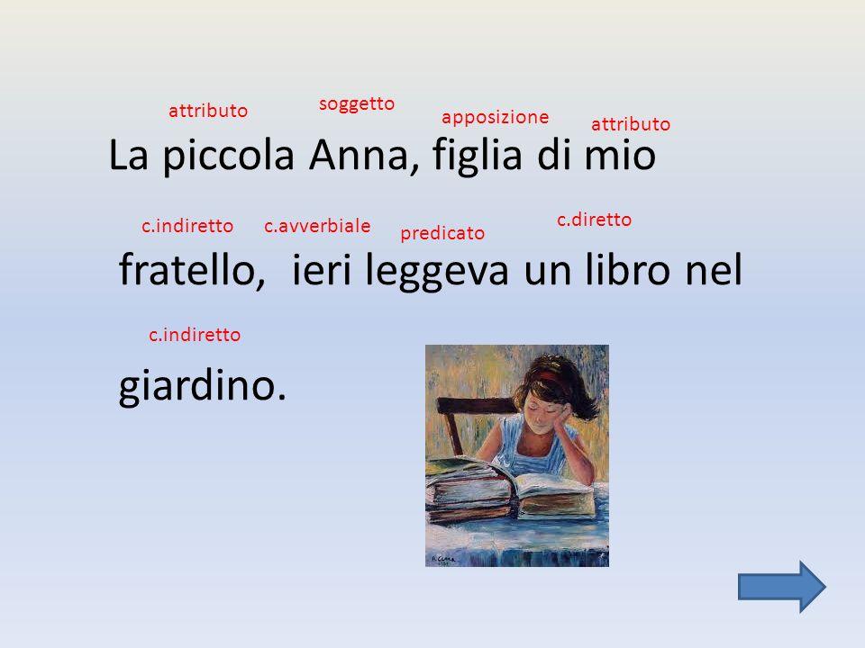 La piccola Anna, figlia di mio fratello, ieri leggeva un libro nel