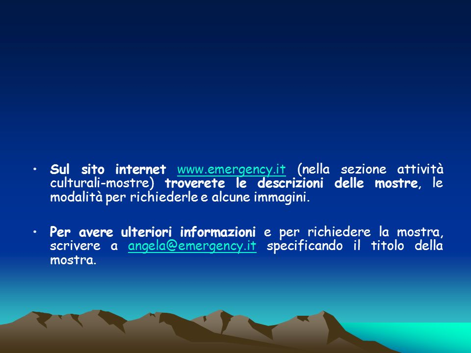 Sul sito internet www. emergency