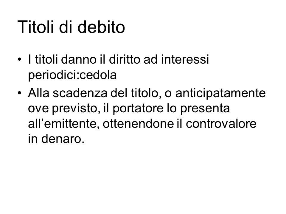 Titoli di debito I titoli danno il diritto ad interessi periodici:cedola.