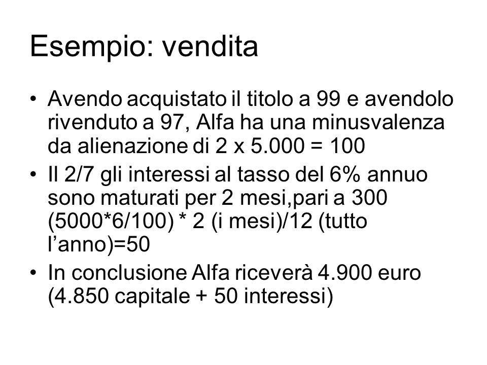 Esempio: vendita Avendo acquistato il titolo a 99 e avendolo rivenduto a 97, Alfa ha una minusvalenza da alienazione di 2 x 5.000 = 100.