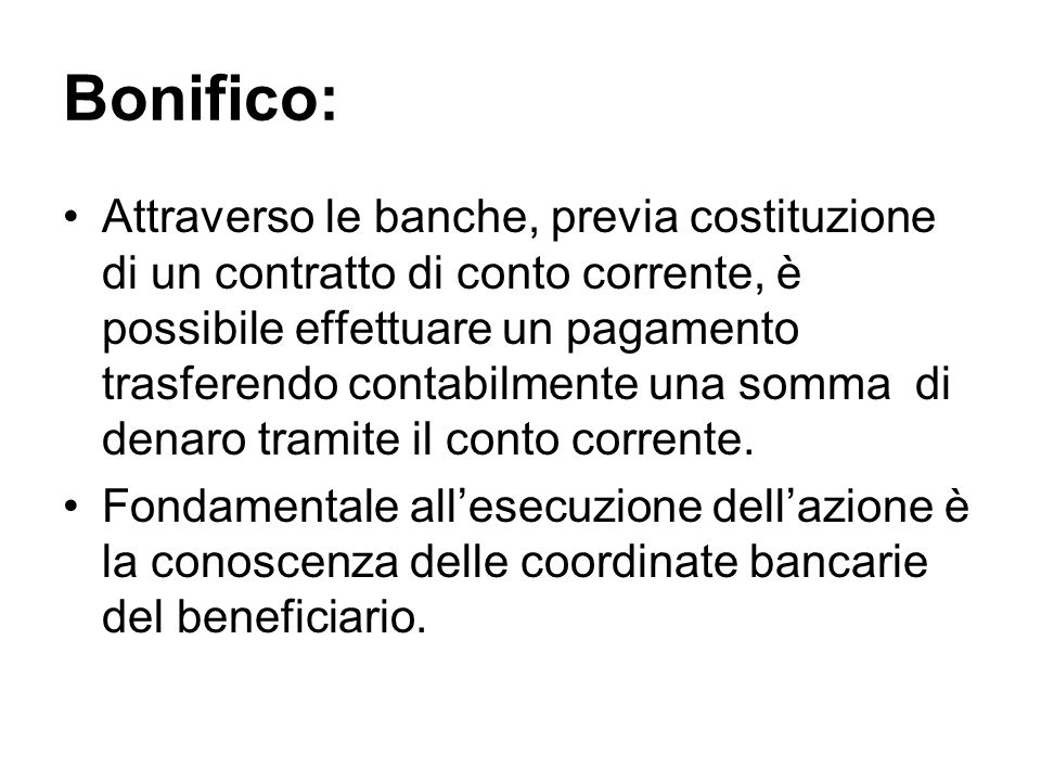 Bonifico:
