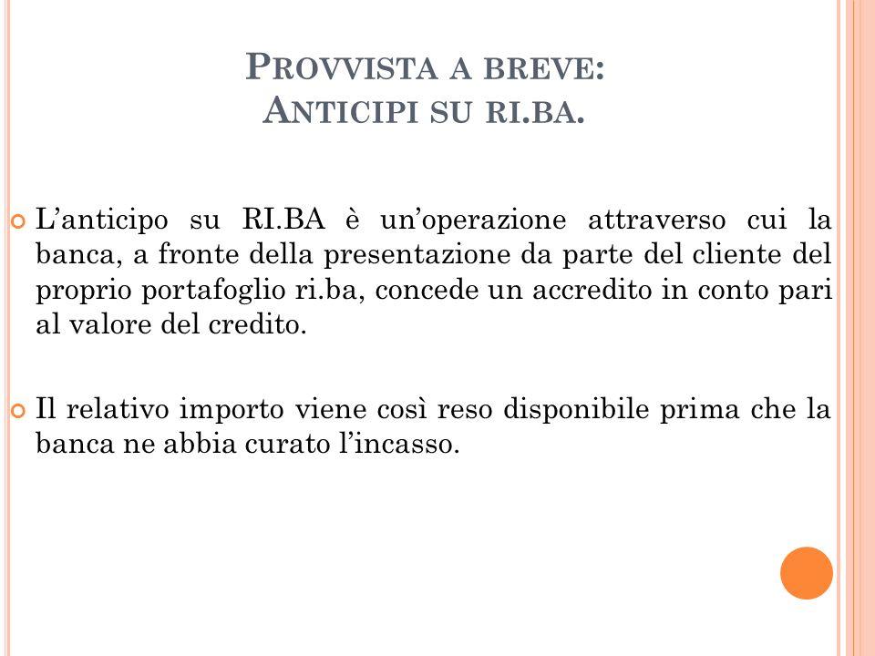 Provvista a breve: Anticipi su ri.ba.