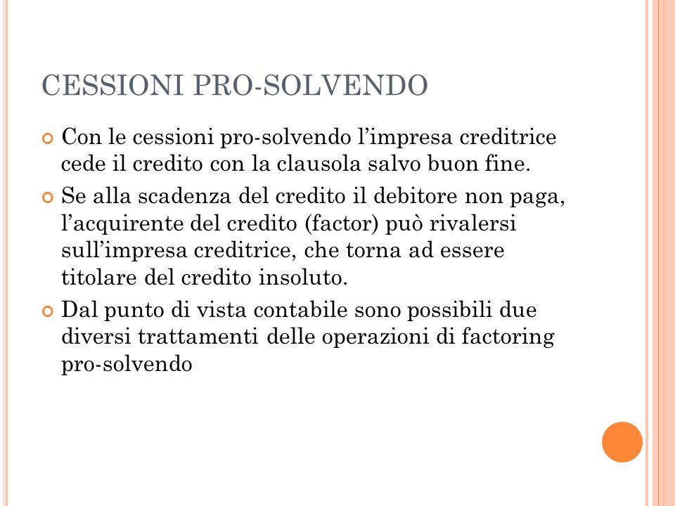 CESSIONI PRO-SOLVENDO