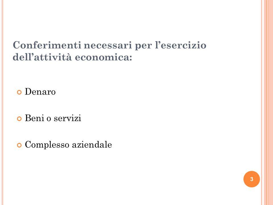 Conferimenti necessari per l'esercizio dell'attività economica: