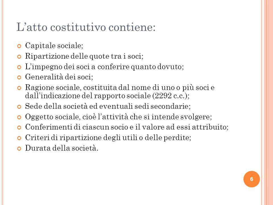 L'atto costitutivo contiene: