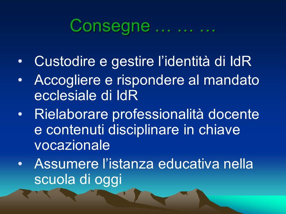 Consegne … … … Custodire e gestire l'identità di IdR