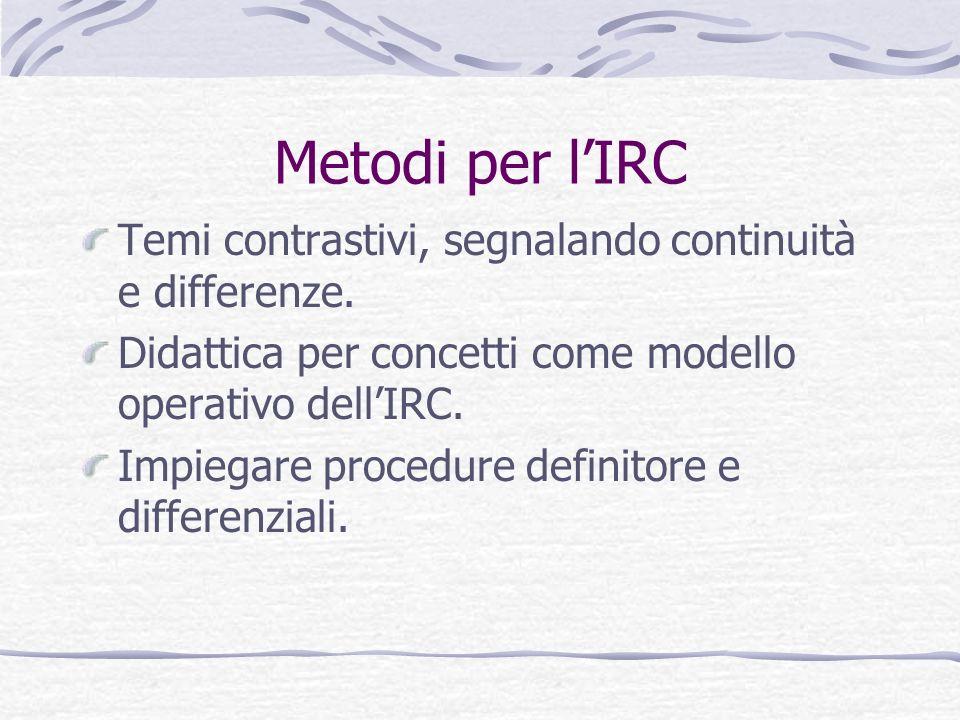 Metodi per l'IRC Temi contrastivi, segnalando continuità e differenze.