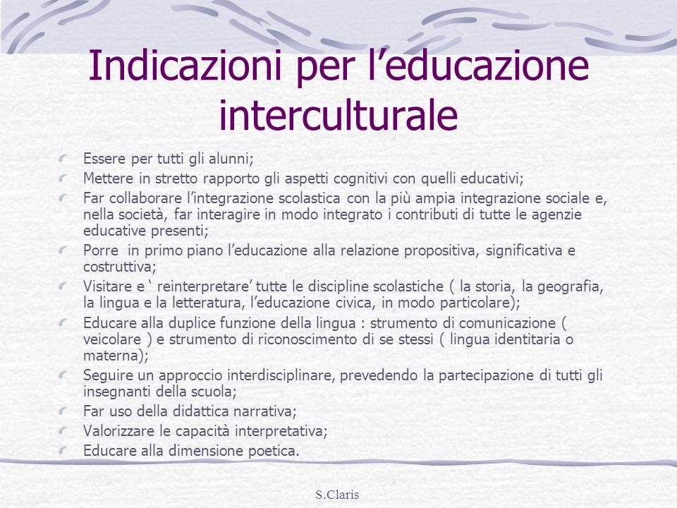 Indicazioni per l'educazione interculturale