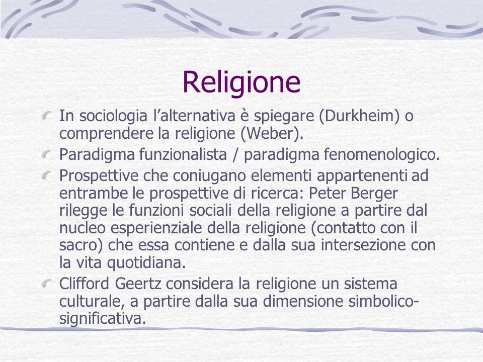 Religione In sociologia l'alternativa è spiegare (Durkheim) o comprendere la religione (Weber). Paradigma funzionalista / paradigma fenomenologico.