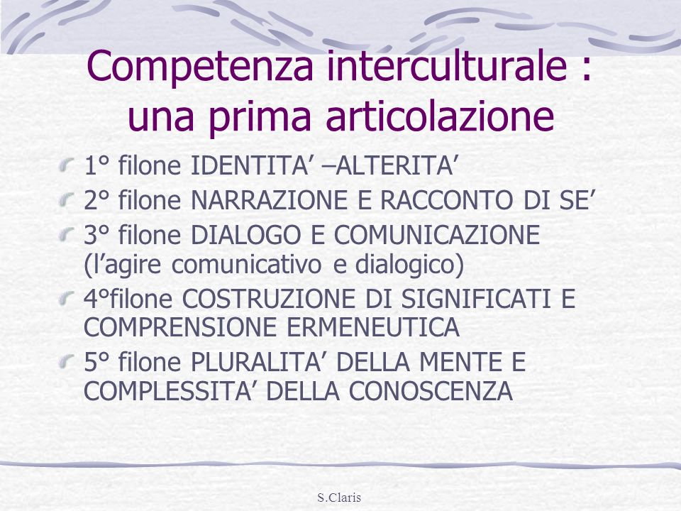 Competenza interculturale : una prima articolazione