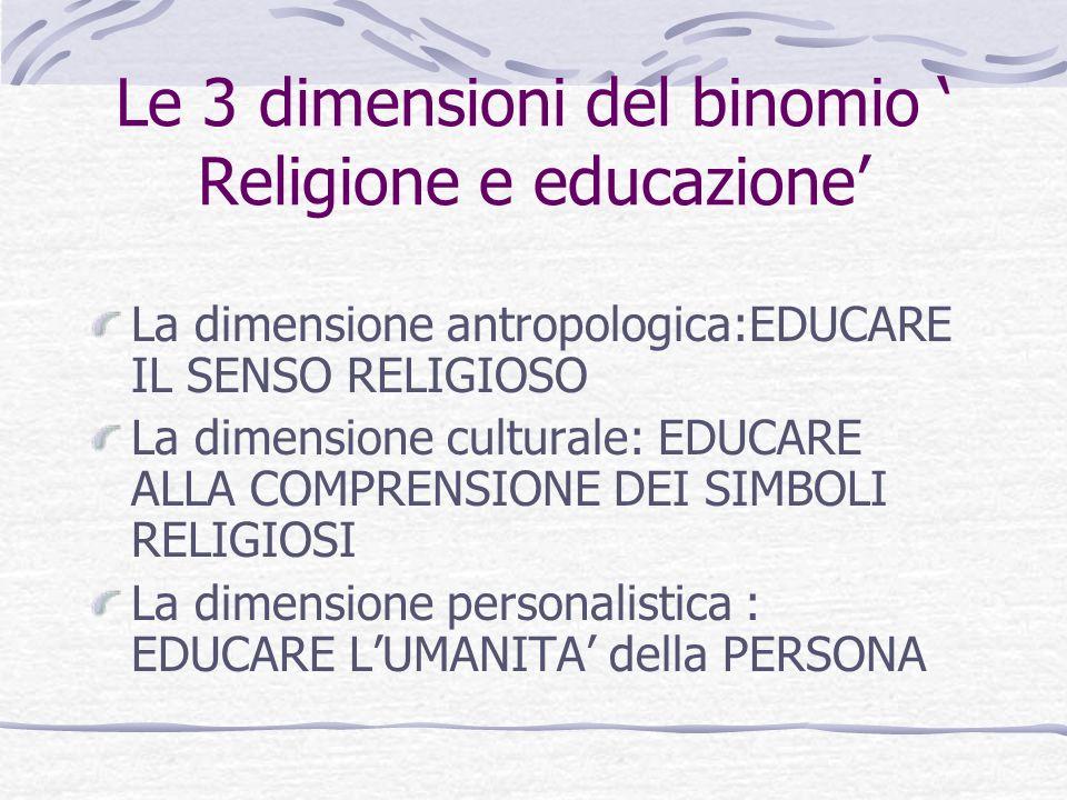 Le 3 dimensioni del binomio ' Religione e educazione'