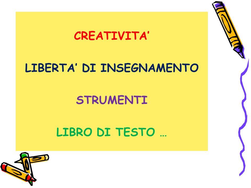 CREATIVITA' LIBERTA' DI INSEGNAMENTO STRUMENTI LIBRO DI TESTO …