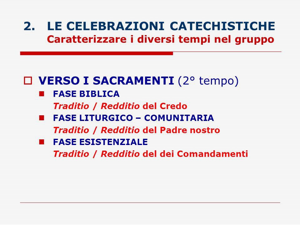 2. LE CELEBRAZIONI CATECHISTICHE Caratterizzare i diversi tempi nel gruppo