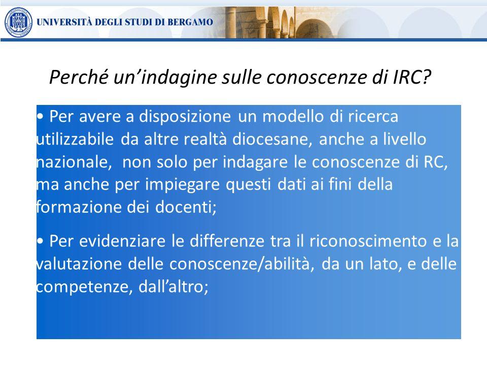Perché un'indagine sulle conoscenze di IRC