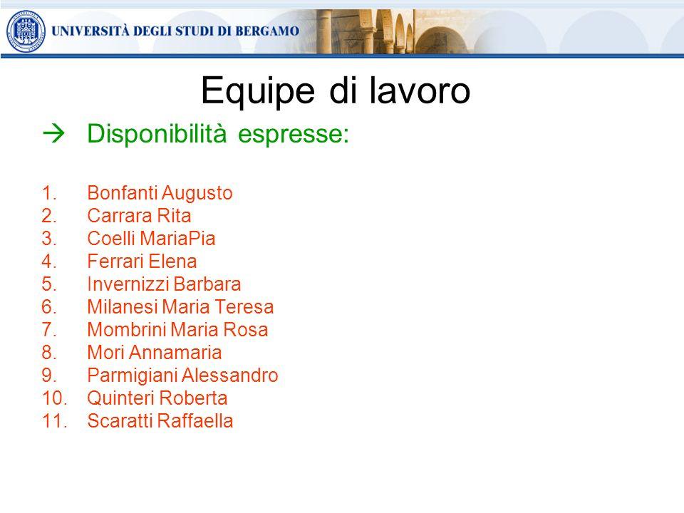 Equipe di lavoro Disponibilità espresse: Bonfanti Augusto Carrara Rita