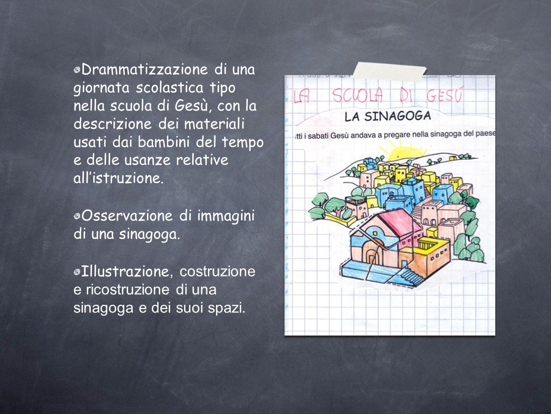 Drammatizzazione di una giornata scolastica tipo nella scuola di Gesù, con la descrizione dei materiali usati dai bambini del tempo e delle usanze relative all'istruzione.