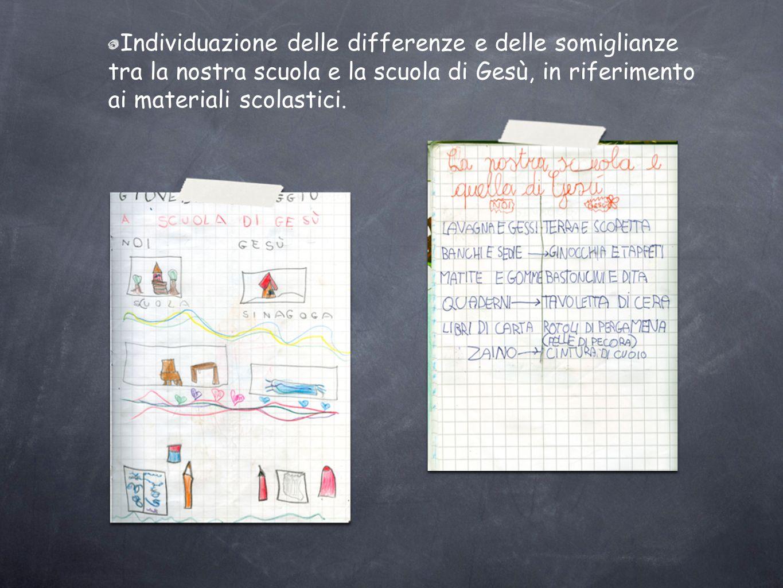 Individuazione delle differenze e delle somiglianze tra la nostra scuola e la scuola di Gesù, in riferimento ai materiali scolastici.