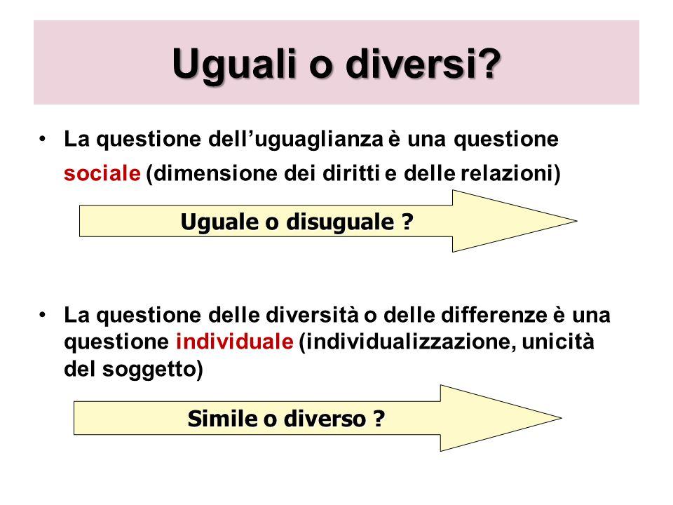 Uguali o diversi La questione dell'uguaglianza è una questione sociale (dimensione dei diritti e delle relazioni)