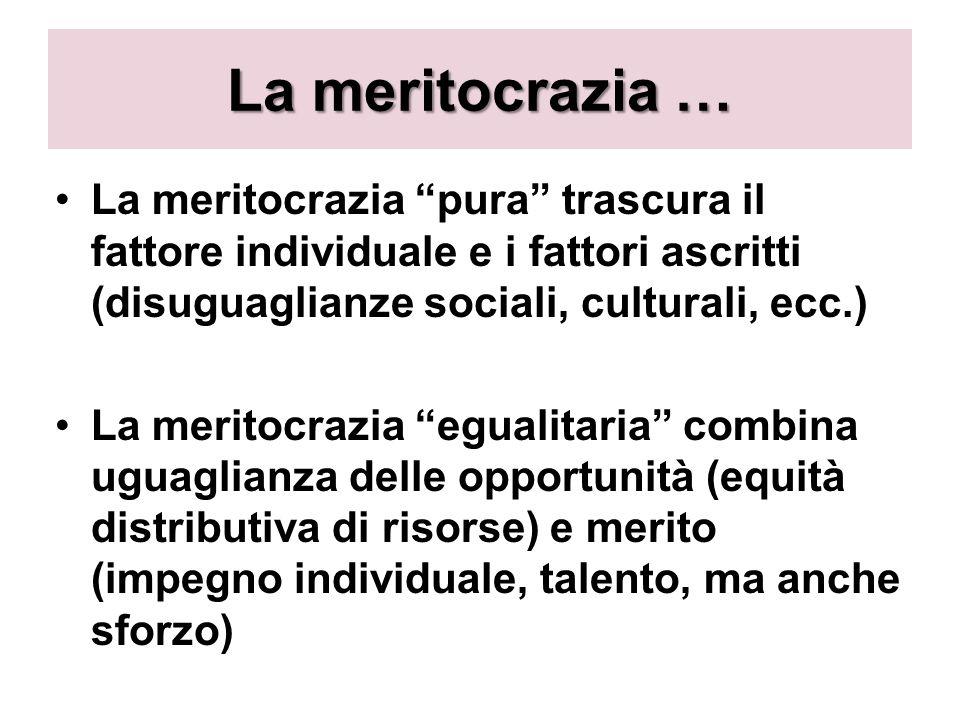 La meritocrazia … La meritocrazia pura trascura il fattore individuale e i fattori ascritti (disuguaglianze sociali, culturali, ecc.)
