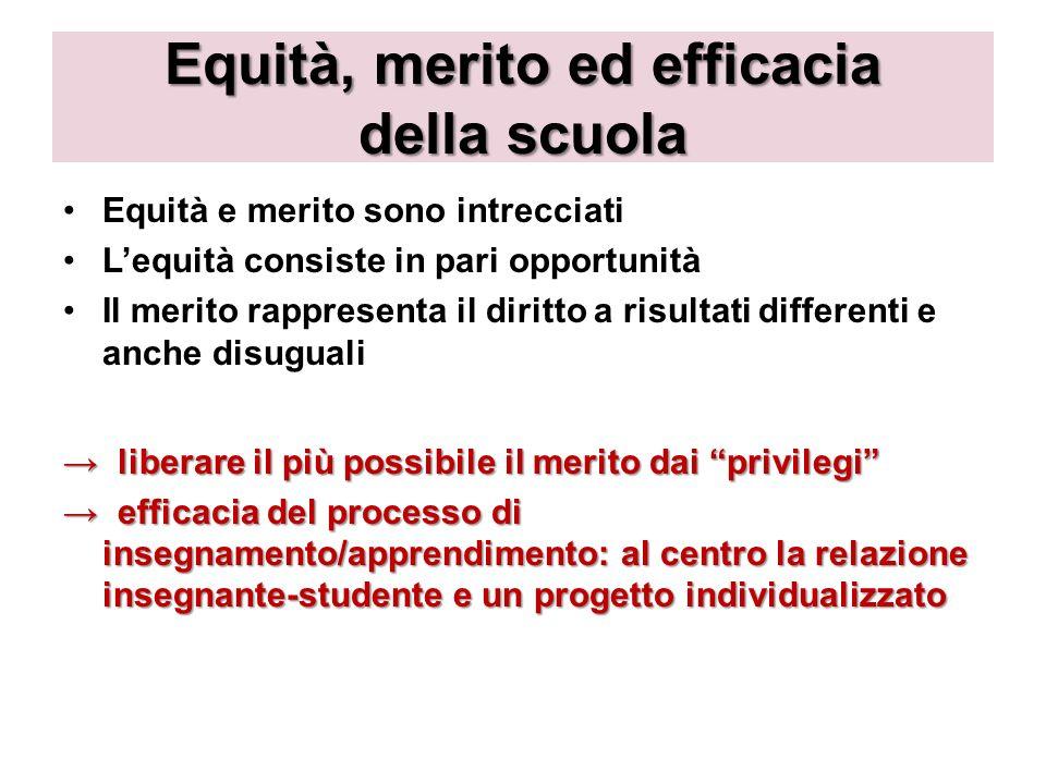 Equità, merito ed efficacia della scuola