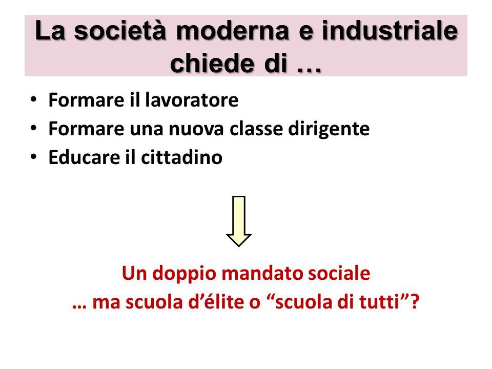 La società moderna e industriale chiede di …