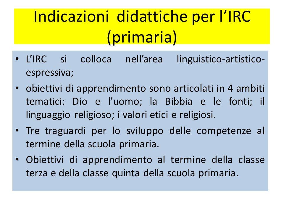 Indicazioni didattiche per l'IRC (primaria)
