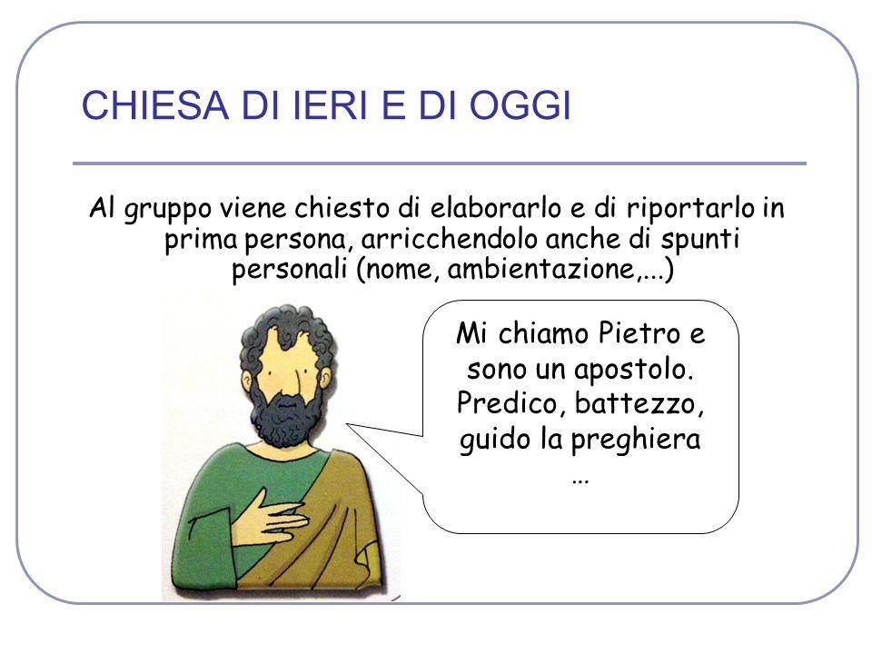 CHIESA DI IERI E DI OGGI Mi chiamo Pietro e sono un apostolo.