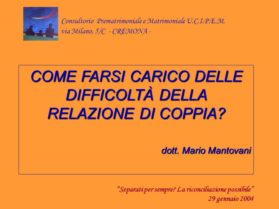 COME FARSI CARICO DELLE DIFFICOLTÀ DELLA RELAZIONE DI COPPIA