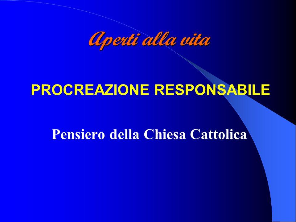 PROCREAZIONE RESPONSABILE Pensiero della Chiesa Cattolica