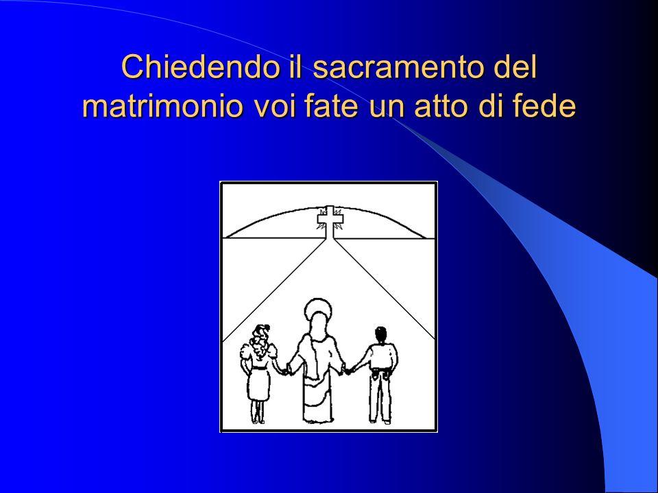 Chiedendo il sacramento del matrimonio voi fate un atto di fede