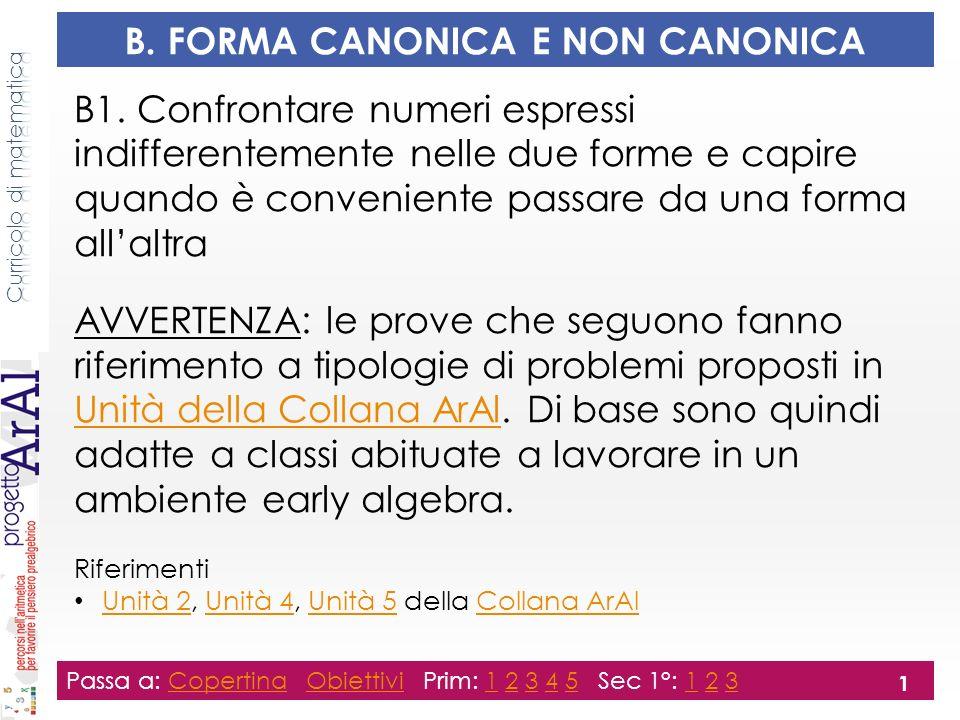 B. FORMA CANONICA E NON CANONICA