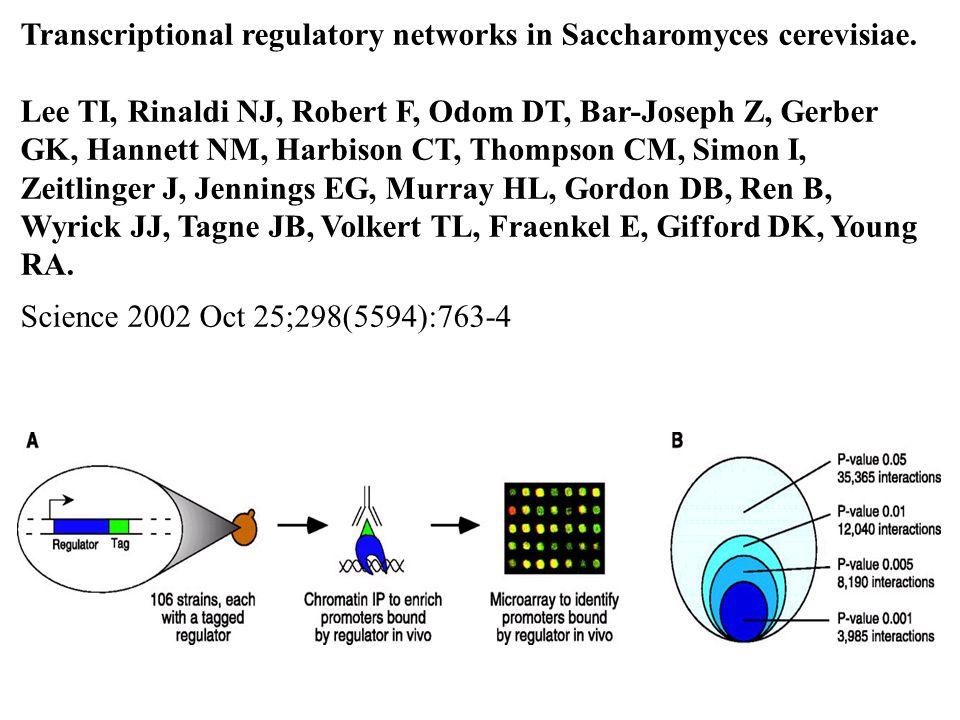 Transcriptional regulatory networks in Saccharomyces cerevisiae