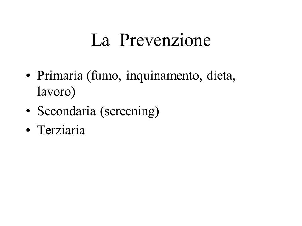 La Prevenzione Primaria (fumo, inquinamento, dieta, lavoro)