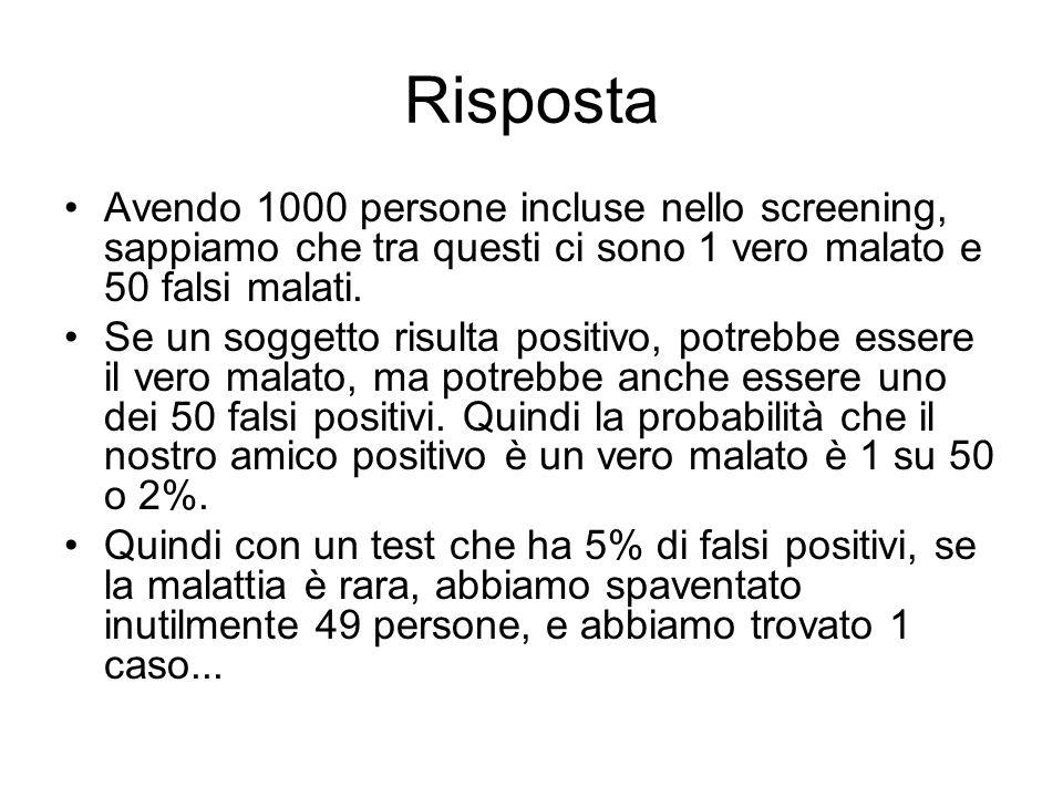 Risposta Avendo 1000 persone incluse nello screening, sappiamo che tra questi ci sono 1 vero malato e 50 falsi malati.