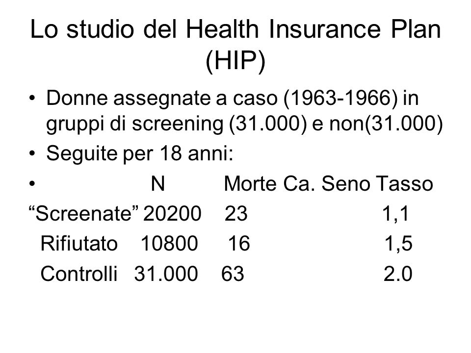 Lo studio del Health Insurance Plan (HIP)