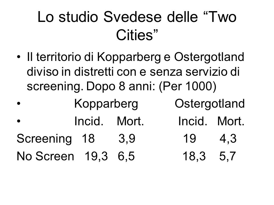 Lo studio Svedese delle Two Cities