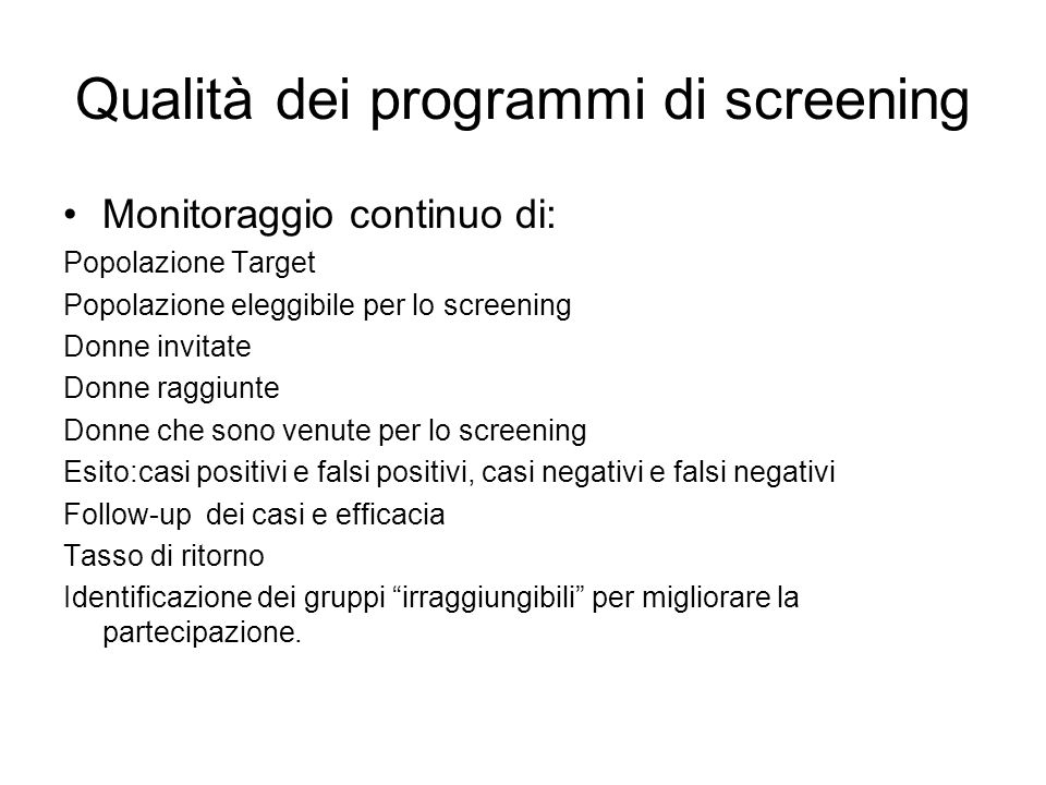 Qualità dei programmi di screening
