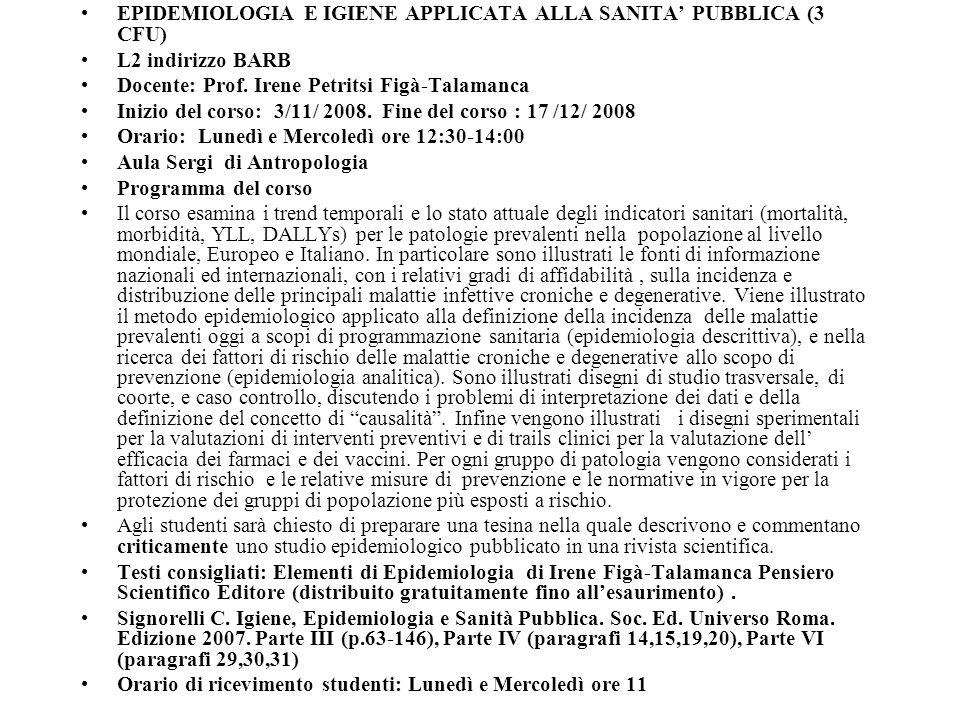 EPIDEMIOLOGIA E IGIENE APPLICATA ALLA SANITA' PUBBLICA (3 CFU)
