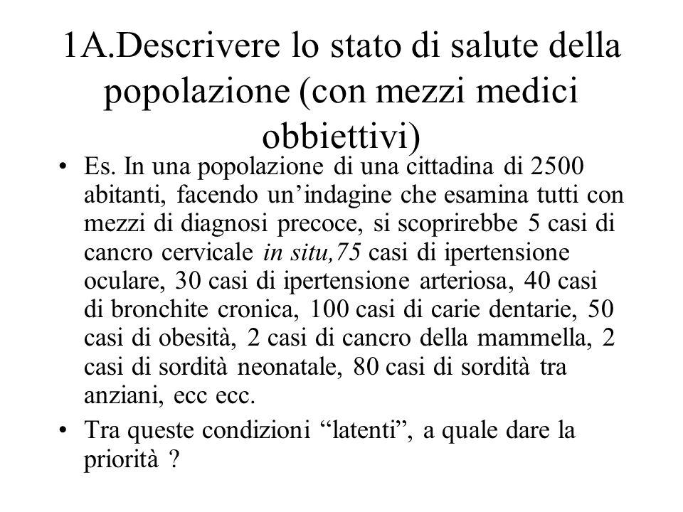 1A.Descrivere lo stato di salute della popolazione (con mezzi medici obbiettivi)