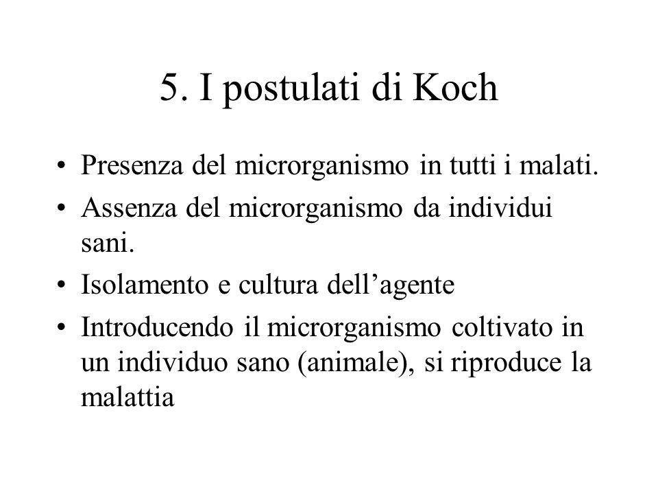 5. I postulati di Koch Presenza del microrganismo in tutti i malati.
